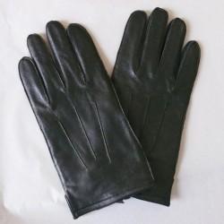 Pánské zimní kožené rukavice s prošitím - černé