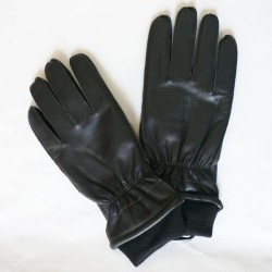 Pánské zimní kožené rukavice s nápletem - černé