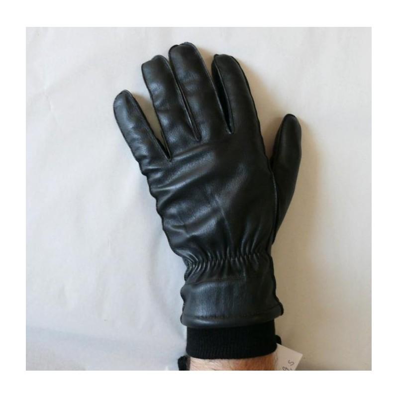 Pánské zimní kožené rukavice s nápletem - černé - Kožené Aktovky ... 5837896b35
