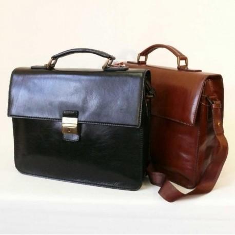 Dámská luxusní kožená aktovka - černá